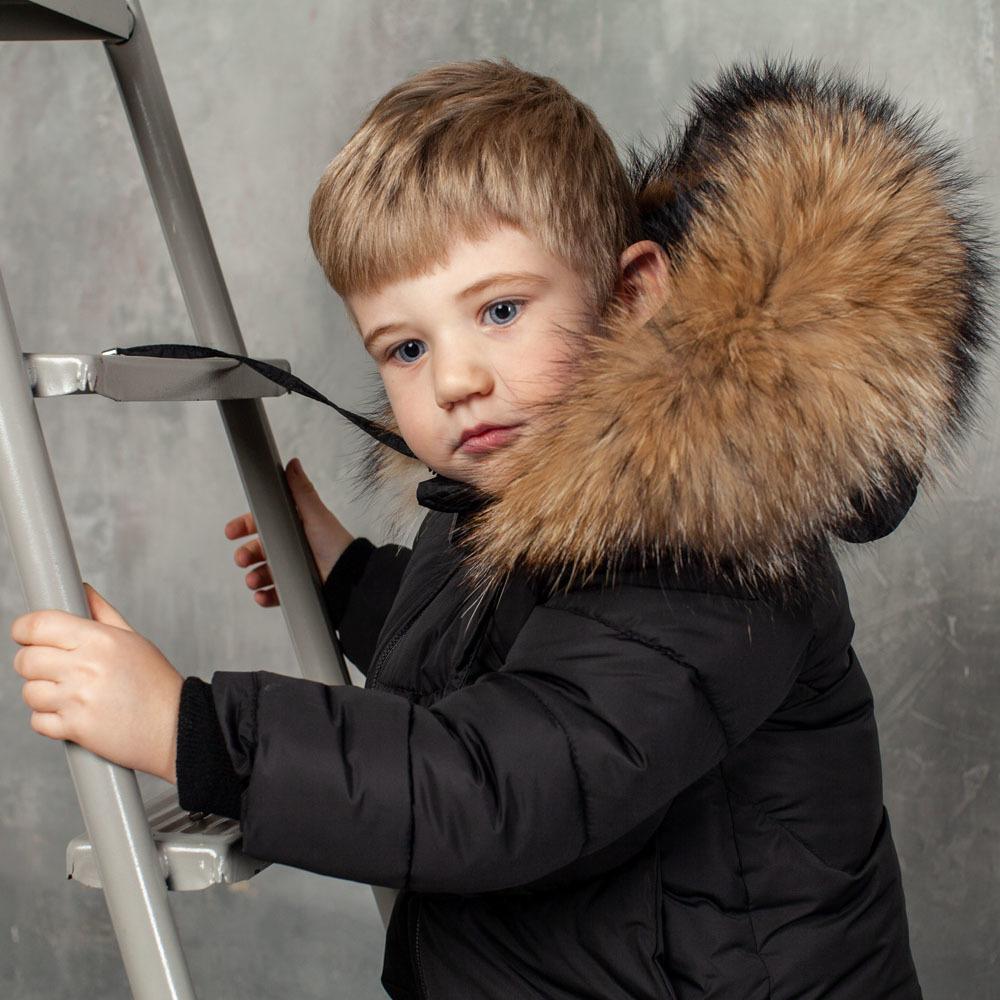 Детский зимний костюм черного цвета из водоотталкивающей плащевки