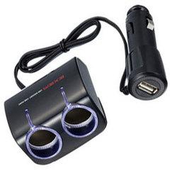 Разветвитель на 2 гнезда с USB EM-66