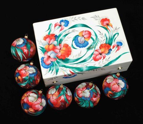 Набор из 6 елочных шаров в шкатулке SET04D-667785782