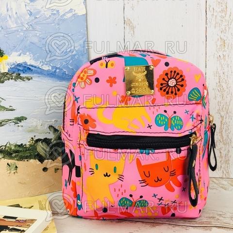 Детский рюкзак Весёлые Коты розовый