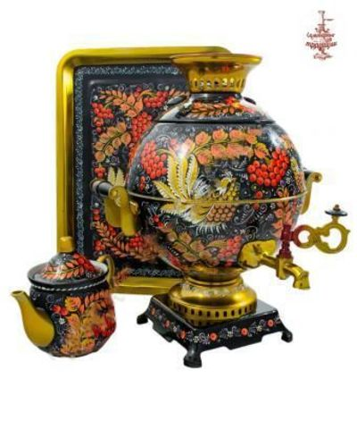 Самовар «Рябина на черном» электрический формой шар 5л в наборе с подносом и чайником