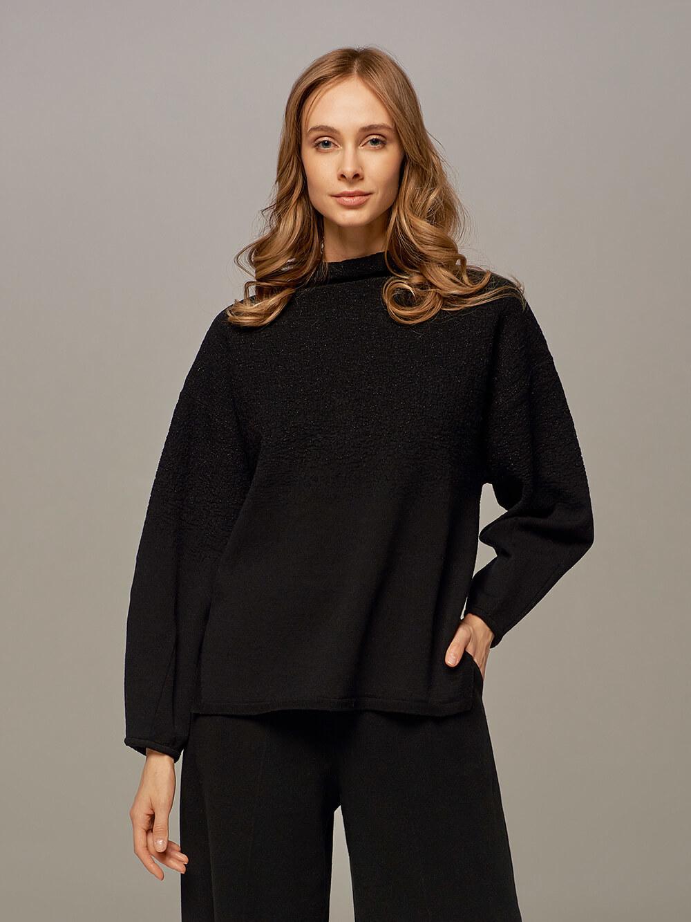 Женский джемпер черного цвета из шерсти - фото 1