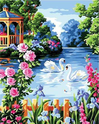 Картина раскраска по номерам 30x40 Лебеди плешутся в пруду