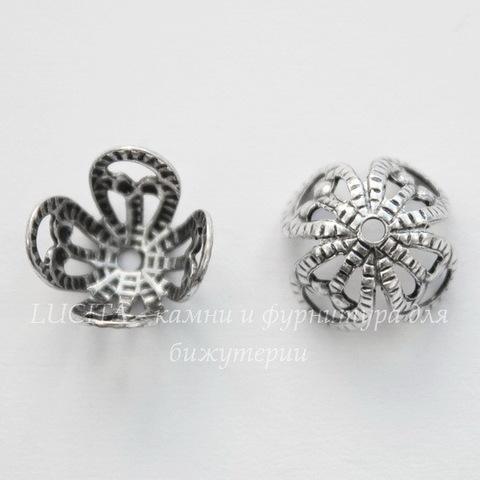 Винтажный декоративный элемент - шапочка 10х6 мм (оксид серебра)
