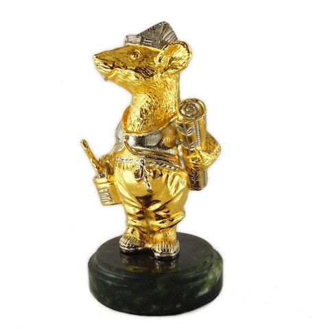 Позолоченная статуэтка «Мышь - бригадир» 12см.