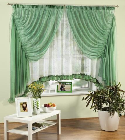 Комплект штор для кухни Изабелла зеленый
