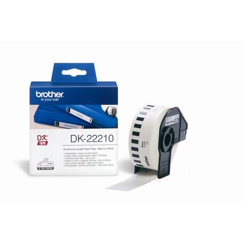 Картридж для принтера этикеток Brother DK22210 (29 мм x 30 м, цвет ленты белый, шрифт черный)