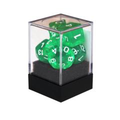 Набор разногранных зелёных прозрачных кубиков
