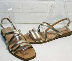 Яркие сандали шлепанцы женские кожаные Wollen M.20237D ZS Gold.