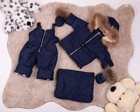 Зимний комбинезон тройка для новорожденных 0-2 года Look с натуральным мехом Пушок синий