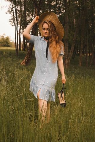 Платье PerleDonna 1447 волан горошек к/р (В19)