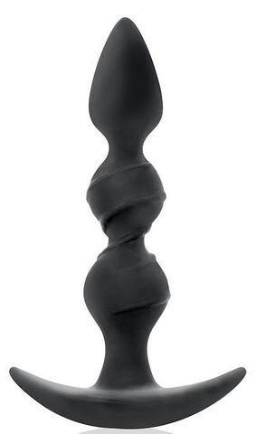 Черная витая пробка-елочка с ограничителем - 16 см.