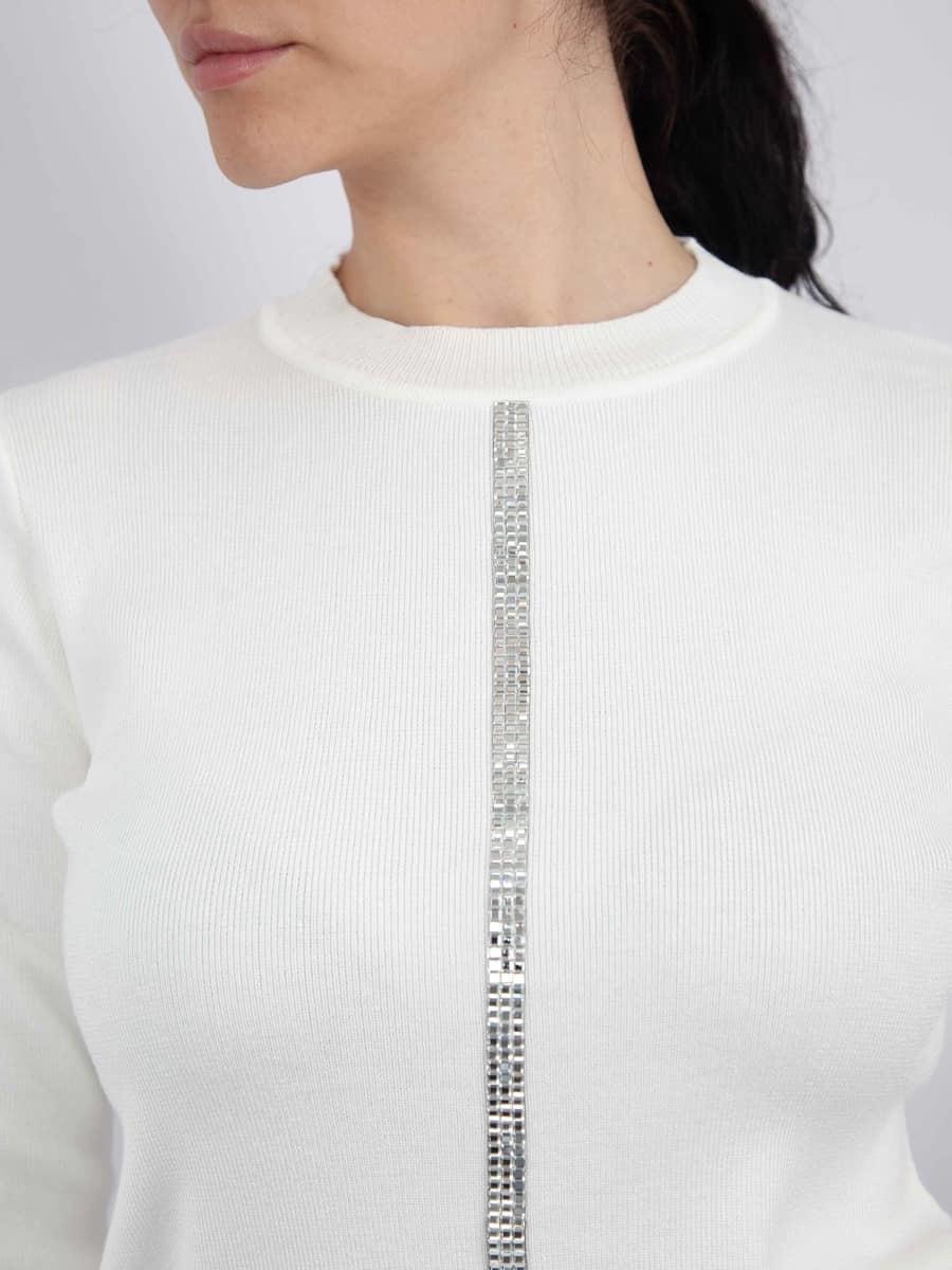 Moda Кофта со стразами полосой