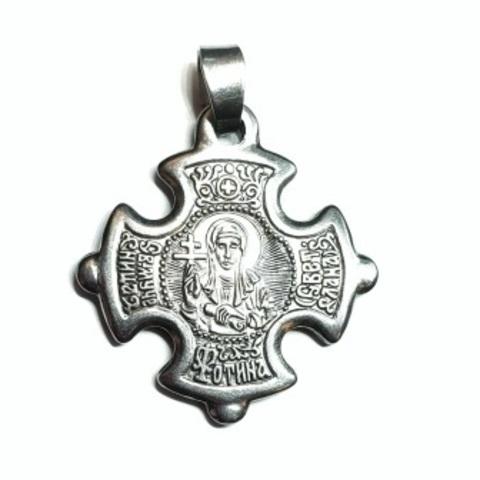 Нательный крест с иконой святой Светланы (Фотинии) с серебрением