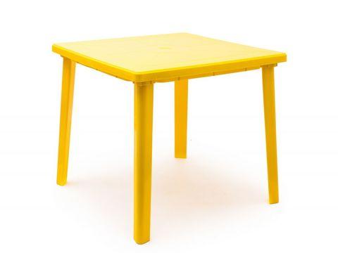 Пластиковый квадратный стол желтый