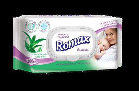 Romax Детские влажные cалфетки с экстрактом алое 100шт