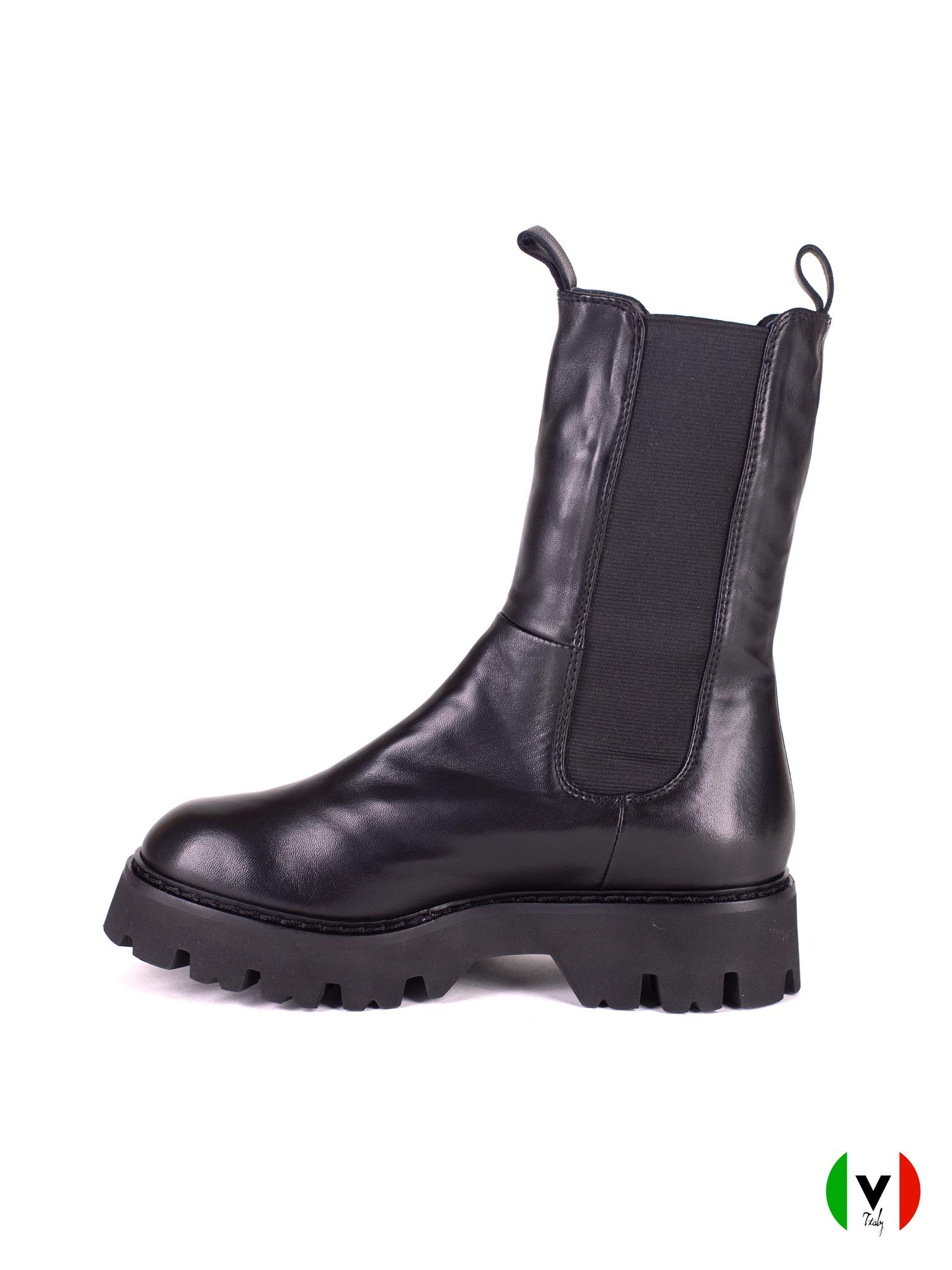 зимние высокие ботинки Fru.it с резиновыми вставками, черные, кожаные, артикул 6538,
