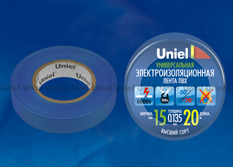 UIT-135P 20/15/01 BLU Изоляционная лента Uniel 20м, 15мм, 0,135мм, 1шт, цвет Синий