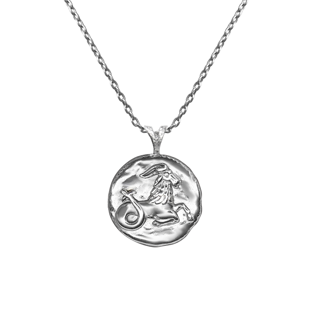 Pendant, Zodiac sign Capricorn on a chain, sterling  silver