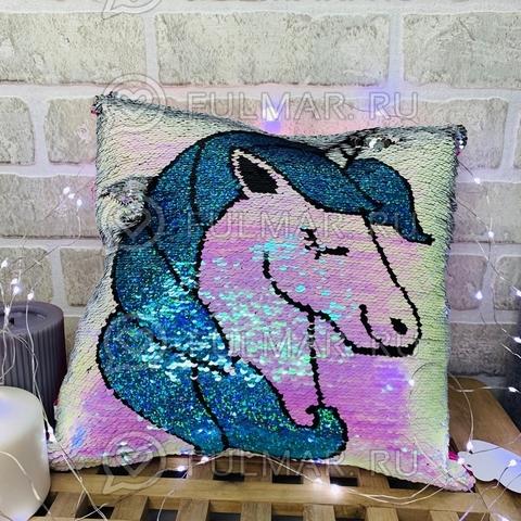 Подушка с пайетками декоративная меняет цвет