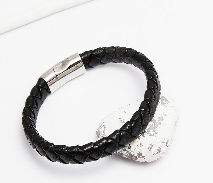 Monzo, Плетеный мужской браслет из натуральной кожи черного цвета (21 см) dor flinger 00045 11 black df из натуральной кожи черного цвета