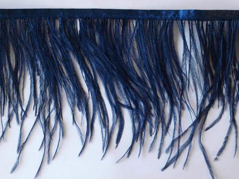 Тесьма  из перьев страуса h 10-15 см., темно-синий