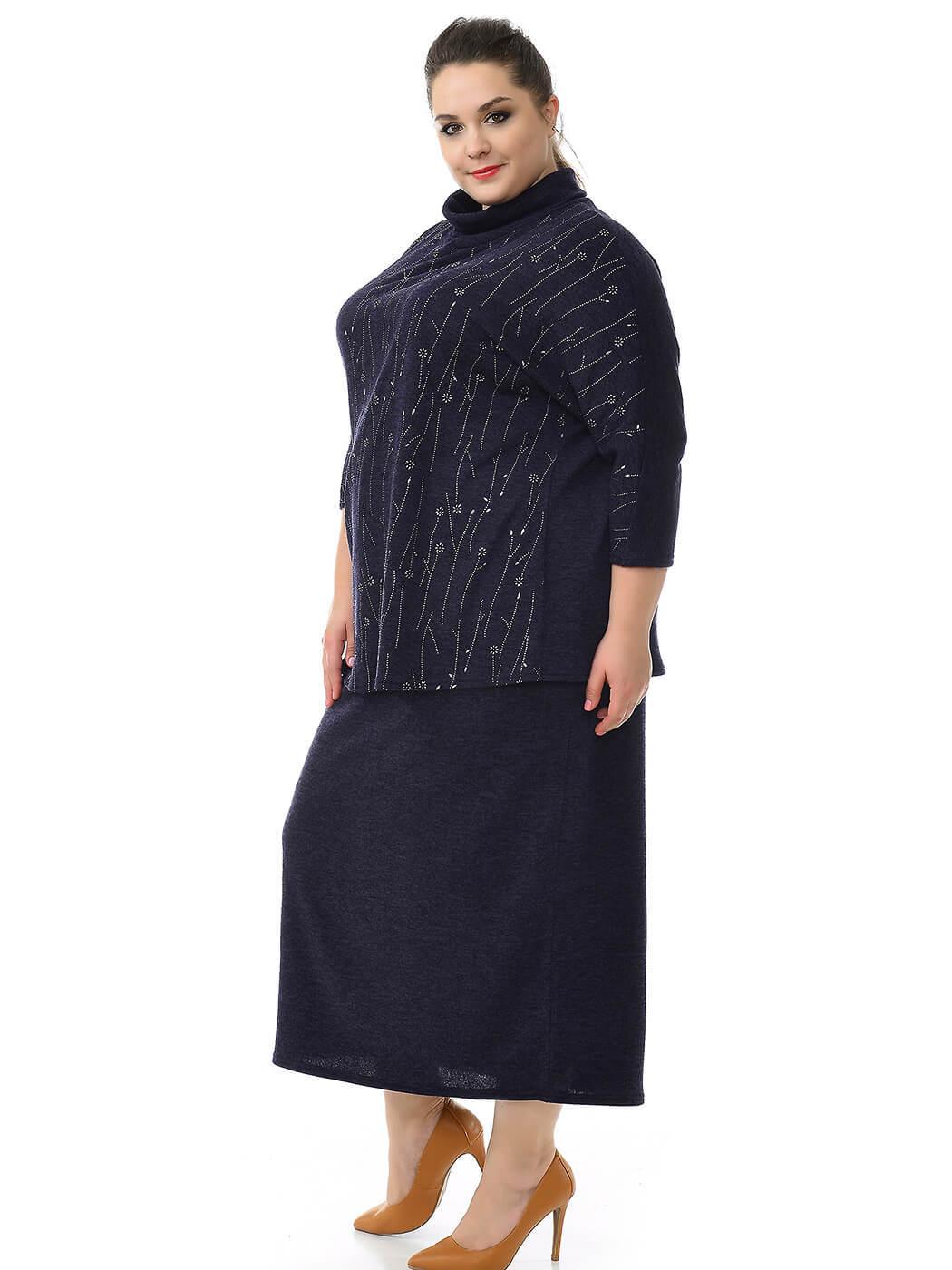 Блуза с цельнокроеным рукавом Ангора темно-синяя