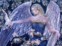 Картина раскраска по номерам 40x50 Женщина-птица и ее любимица