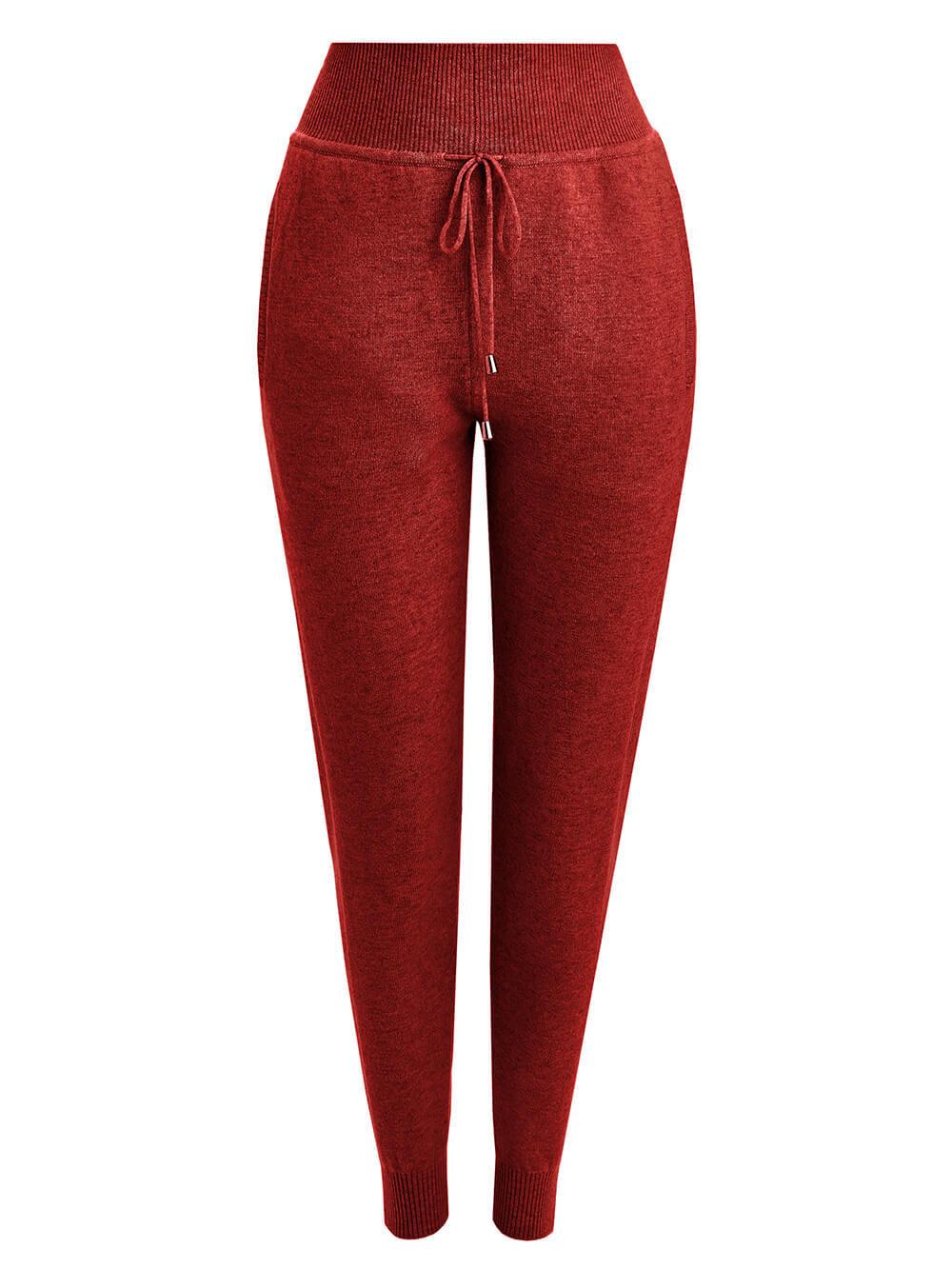 Женские брюки красного цвета из 100% кашемира - фото 1