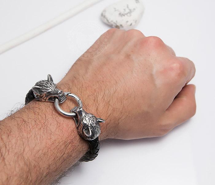 BM471 Мужской браслет из шнура со стальными волками (21 см) фото 05