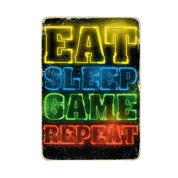 Wood Постер Eat Sleep Game Repeat